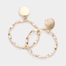 Twist Hoop Disc Earrings: Gold Or Silver