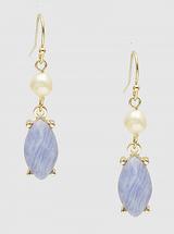 Semi Precious Stone And Pearl Earrings - Dusty Blue