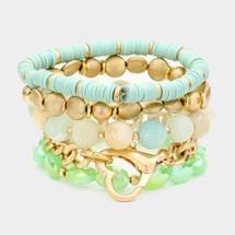 Heart Toggle Semi Precious Beaded Bracelet Set/Stack: Mint