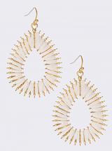 Textured Raffia earrings - white: LAST PAIR