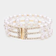 Jeweled Pearl Bracelet