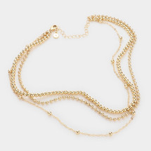 Metal Ball Chain Triple Layered Necklace