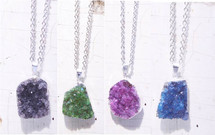 "Charlotte Amethyst Druzy Necklace - GREEN 18"" long"