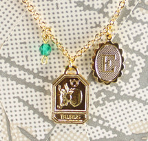 Charm Necklace with Zodiac, Initial & Birthstone