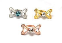 Jeweled Bow Ring: LAST ONE! Gold/Clear Stones