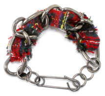 Cecilia Tweed Bracelet: Black/Red ONLY!