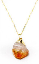 Citrine Gold Dipped Point Necklace - As seen on Jeri Ryan!