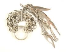 Feathers bracelet - silver
