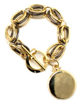 Rowena Mixed Metals Medallion Bracelet - more colors: Seen on the cover of Real Simple!