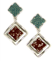 Raya Drop Earring - Blue/Cognac