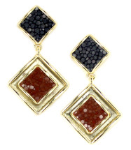 Raya Drop Earring - Navy/Cognac