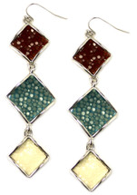 Raya Triple Drop Earrings - Cognac/Blue/White