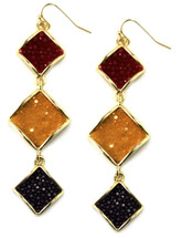 Raya Triple Drop Earring - Navy/Cognac/Mustard