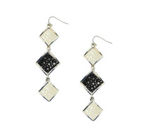 Raya Multi Triple Drop Earring - Black/White