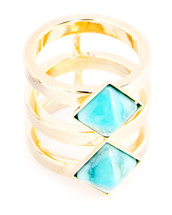 Two Band Two Square Ring Gold: Seen on Ariana on Vanderpump Rules!