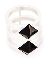 Two Band Two Square Ring Silver