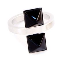 Two Square Ring Silver