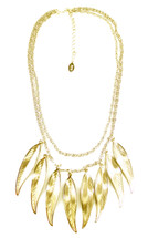 Ten Feather Necklace Short Gold