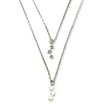 Tiny Stars Layered Necklace Antique Silver