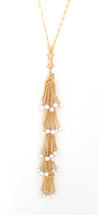 Pearled Y Necklace Gold