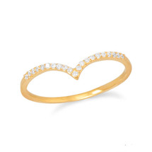 Pave V Stacker Gold (sterling)