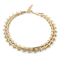 V Right Over Choker -Gold