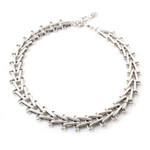 V Right Over Choker -Silver