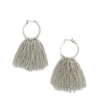 Tasseled Out Hoops - Silver