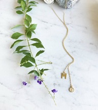 Initials Lariat Wrap Necklace
