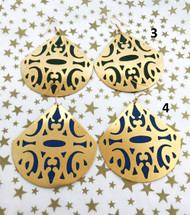 Filigree Earrings w/ Suede Inlay