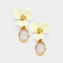 Flower Druzy Earrings