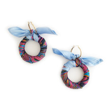 Scarf Hoop Earrings BLUE - Seen in Family Circle, Ebony Mag, on Dawn McCoy, Rossana Vanoni & Lyndsay Luv!
