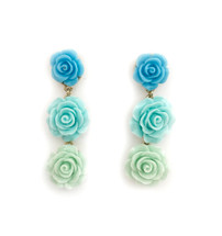 Rosette Blues Earrings: Seen on Liza Dean!