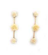 Ivory Rosette Earrings