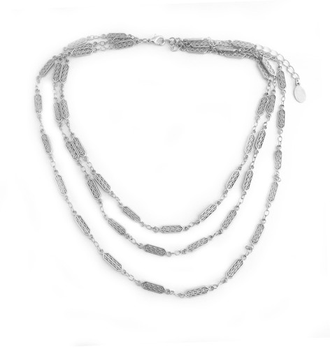 Aztec Bars Layered Necklace Silver Nissa Jewelry