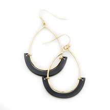 Black Lucite Bar Earrings