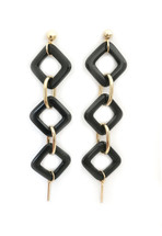 Black Lucite Drop Earrings