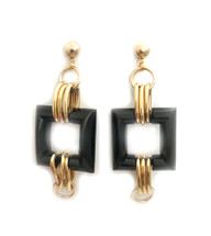 LAST PAIR! Black Lucite Square Earrings: Seen on Rosanna Vanoni!