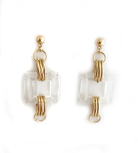 Clear Lucite Square Earrings: Seen on Debbie M on Home & Family!