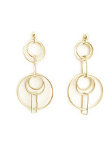 Double Rectangle Drop Hoop earrings -Gold
