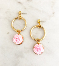 Flower Drop Hoop Earrings: Pink