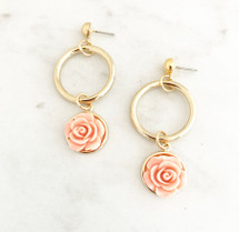 Flower Drop Hoop Earrings: Peach