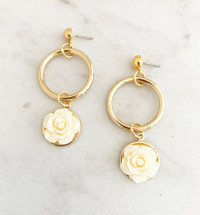 Flower Drop Hoop Earrings: Ivory