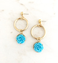 Flower Drop Hoop Earrings: Blue