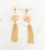 Flower Tassel Earrings: Peach