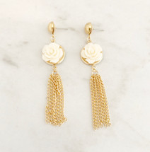 Flower Tassel Earrings: Ivory
