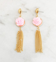 Flower Tassel Earrings: Pink