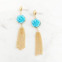 Flower Tassel Earrings: Blue