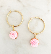 Closed Flower Hoops: Pink