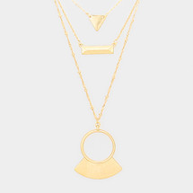 Triple Layered Gold Pendant Necklace *Limited Edition*